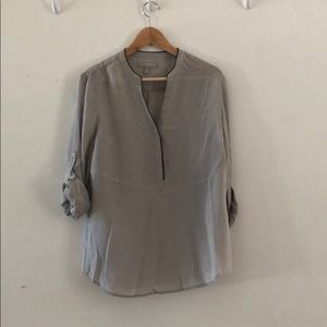 Silk grey top with black leather type trim